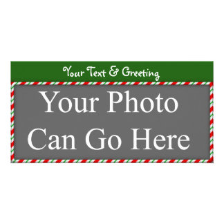 Candy Cane Sweet Red White Green Christmas Design Photo Greeting Card