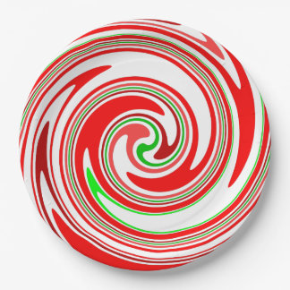 Candy Cane Swirl Red White Green Festive Paper Plate