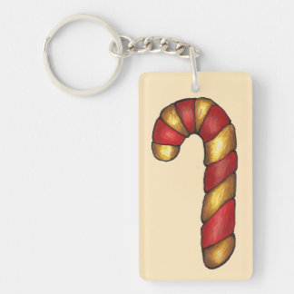 Candy Cane Twist Christmas Cookie Holiday Baking Keychain