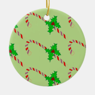 Candy Cane with Holly Holiday Ornament