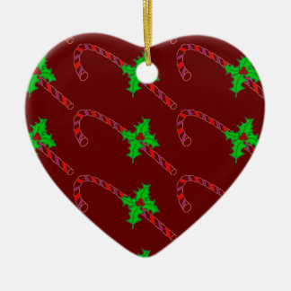 Candy Cane with Holly Stickers Ceramic Heart Ornament