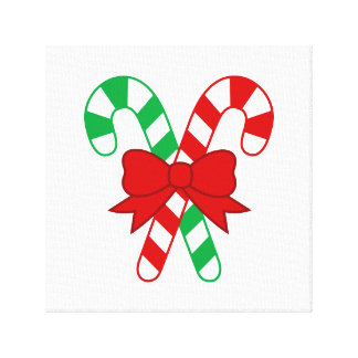 Candy Cane Wrapped Canvas