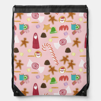 Candy Canes and Chocolates on Pink Drawstring Bag
