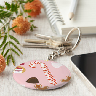 Candy Canes and Chocolates on Pink Keychain
