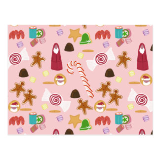 Candy Canes and Chocolates on Pink Postcard