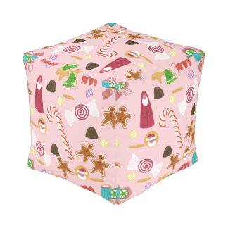 Candy Canes and Chocolates on Pink Pouf