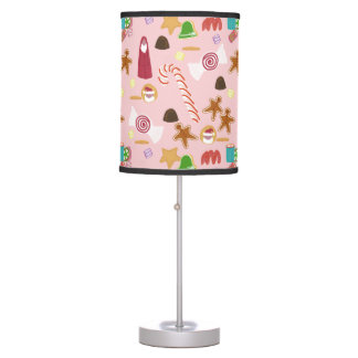 Candy Canes and Chocolates on Pink Table Lamp