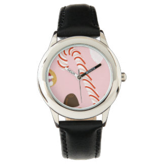 Candy Canes and Chocolates on Pink Watch
