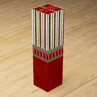 Candy Canes and Stripes Wine Bottle Box
