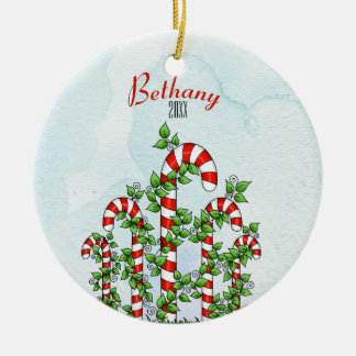 Candy Canes and Vines Christmas Ornament
