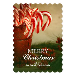 """Candy canes in red tin can with berries 5"""" x 7"""" invitation card"""