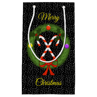Candy Canes in Wreath with Snow Christmas Gift Bag