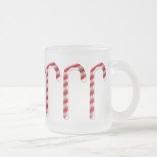 Candy Canes Marching Frosted Glass Coffee Mug