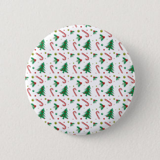 Candy Canes, Mistletoe, and Christmas Trees 2 Inch Round Button