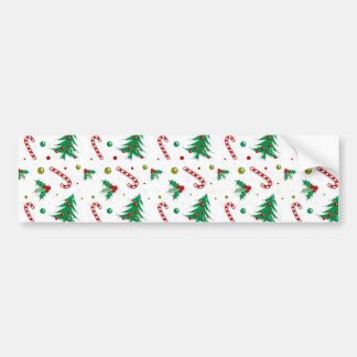 Candy Canes, Mistletoe, and Christmas Trees Bumper Sticker
