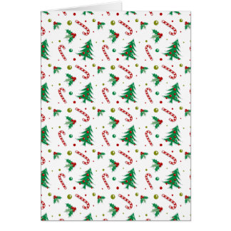 Candy Canes, Mistletoe, and Christmas Trees Card