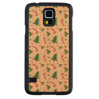 Candy Canes, Mistletoe, and Christmas Trees Carved Cherry Galaxy S5 Case