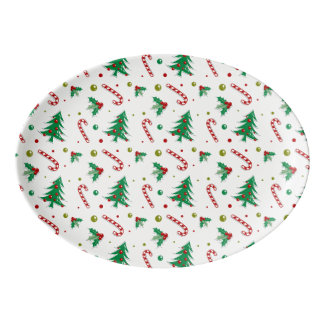 Candy Canes, Mistletoe, and Christmas Trees Porcelain Serving Platter