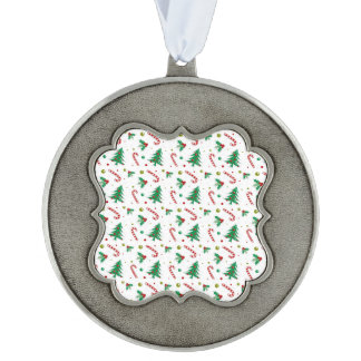 Candy Canes, Mistletoe, and Christmas Trees Scalloped Pewter Ornament