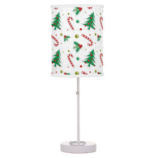 Candy Canes, Mistletoe, and Christmas Trees Table Lamp