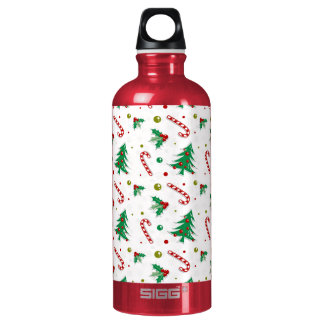 Candy Canes, Mistletoe, and Christmas Trees Water Bottle