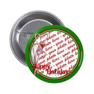 Candy Canes Photo Frame 2 Inch Round Button