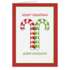 Candy Canes red green Christmas Birthday Card