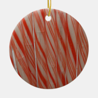 Candy Canes Round Ceramic Ornament