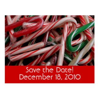 Candy Canes Save the Date Postcard