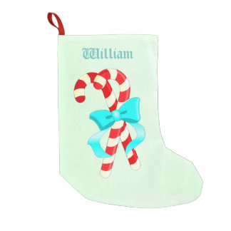 Candy Canes Stocking With Teal Background