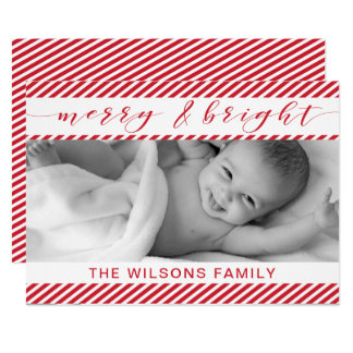 Candy Canes Typography Cute photo Holiday Greeting Card
