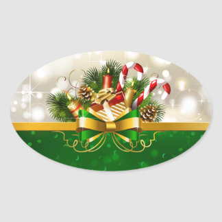 Candy canes with bow oval sticker