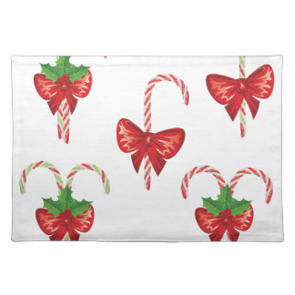 Candy Canes with Bow Set 2 Placemat