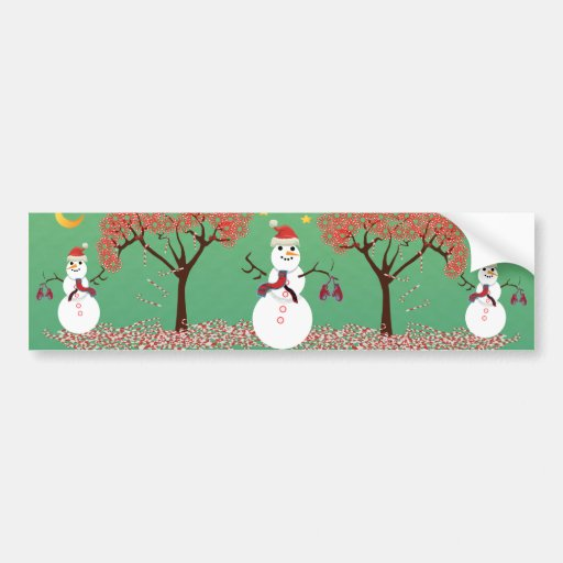 Candy caneTree with Snowman Bumper Stickers