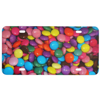 Candy cased choclate buttons Texture Template License Plate