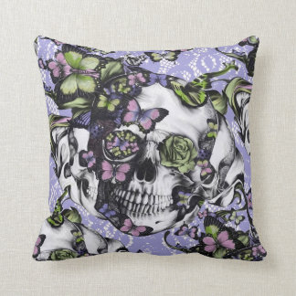 Candy Coated girly rose skull pillow. Throw Pillow