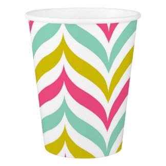 Candy Colored Chevron Waves Pattern Modern Paper Cup
