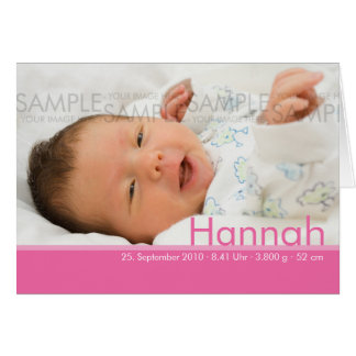 Candy Colors Pink Geburtskarte - Baby Announcement