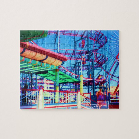 Candy Coloured Vintage Rollercoaster Jigsaw Puzzle