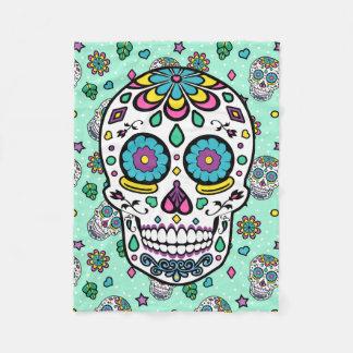 Candy Colourful Sugar Skull Fleece Blanket