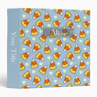 Candy Corn and Heart Pattern 3 Ring Binder