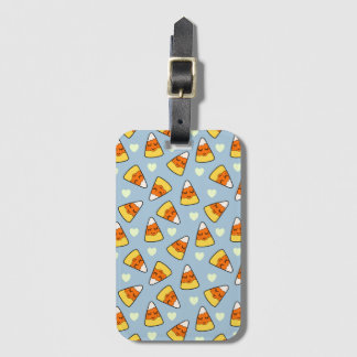 Candy Corn and Heart Pattern Luggage Tag