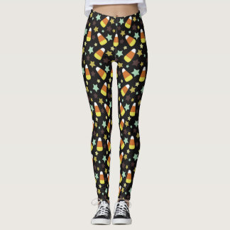 Candy Corn and Stars Halloween Leggings