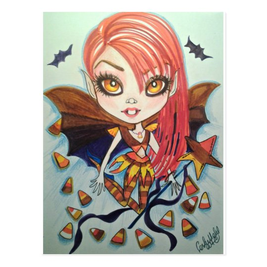 Candy Corn Bat Girl Halloween Fantasy Art Postcard