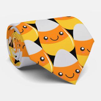 Candy Corn Emoticon Halloween Tie