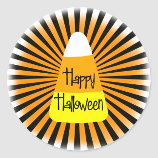 Candy Corn Greetings Classic Round Sticker