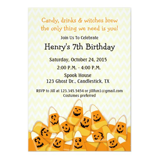 Candy Corn Halloween Birthday Party Card