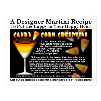 Candy Corn Halloween Martini Recipe Postcard