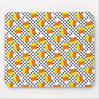 Candy Corn Halloween Polka Dot Mousepad