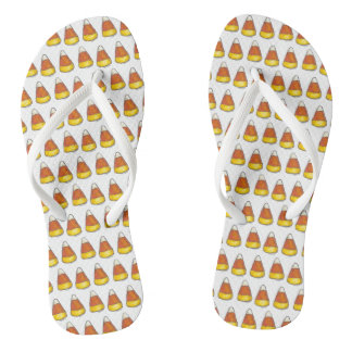 Candy Corn Halloween Thanksgiving Trick or Treat Flip Flops